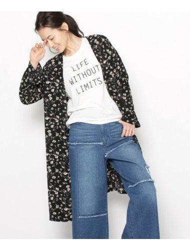 Tシャツ+フラワーガウンカーディガン