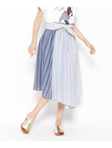 パッチワーク風ベルト付きストライプスカート